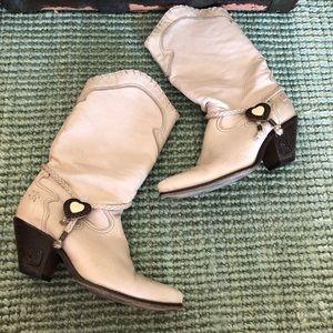Vintage Zodiac white leather western cowboy boots
